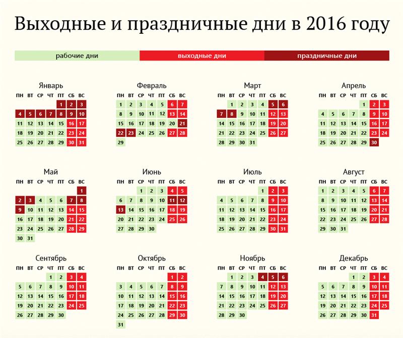 Сколько выходных на день россии в 2016